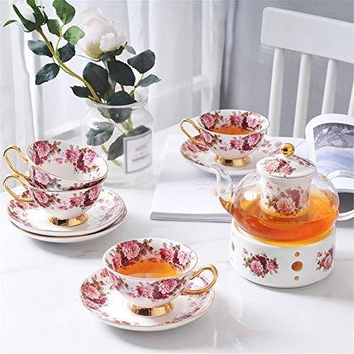 KX-YF Tee-Sets Glasblumen-Tee-Schalen-Set Haushaltskaffeetasse Obst Teekanne Kann Keramik-Basis Filter Tea Set erwärmenden Home Office Teeservice (Color : Photo Color, Size : One Size)
