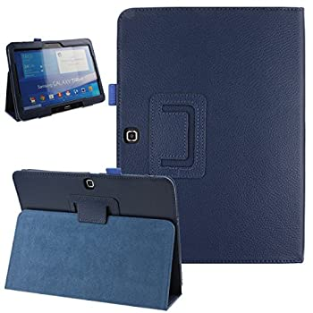 Samsung Galaxy Tab 4 10.1 Case Simple Color Slim PU Leather Folio Protective Case Cover with Stand for Samsung Galaxy Tab 4 10.1 10 Inch Tablet  Dark Blue