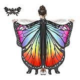 JEPOZRA mariposa Chal alas con máscara kit de valor niños disfraces navidad juguetes halloween fiesta traje cosplay diseño ideas kit (Rainbow Colors)