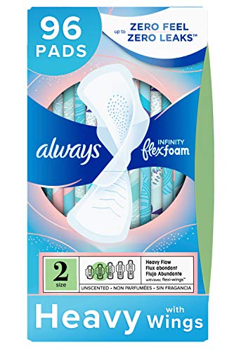 Always Infinity Feminine Pads for Women, Size 2, 96 Count, Heavy Flow Absorbency, with Wings, Unscented (32 Count, Pack of 3 - 96 Count Total)