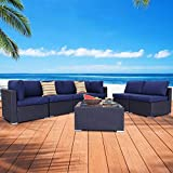 EXCITED WORK 7PCs Outdoor Patio Rattan Sofa, Sectional Furniture Set Manual Weaving Conversation Set with Pillow, Cushions and Glass Table