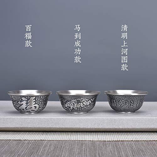 SJJZRR 3 piezas de aislamiento de calor de plata esterlina taza de té taza de plata esterlina 999 Kung Fu Master Cup hogar taza agua