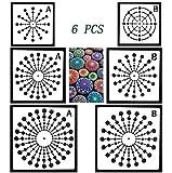 Ai-life Mandala Dotting Schablone, 6 Stück Mandala Schablone Schießscheibe Punktierung Werkzeug DIY Vorlage Muster für Mandala Art Leinwand Malerei, 8/12/16/20/24 Segment