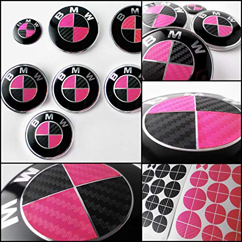 FLV BLACK and PINK CARBON FIBER Sticker For ALL BMW Emblems Decal Overlay Roundel Cover Cap Logo