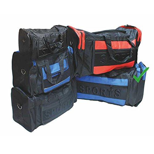 Grote sporttas zwart/blauwe tas met draagriem en 3 zijvakken draagtas 75 x 30 x 34 cm