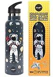 Fringoo - Botella de Agua con Pajita de Astronauta para Niños -...