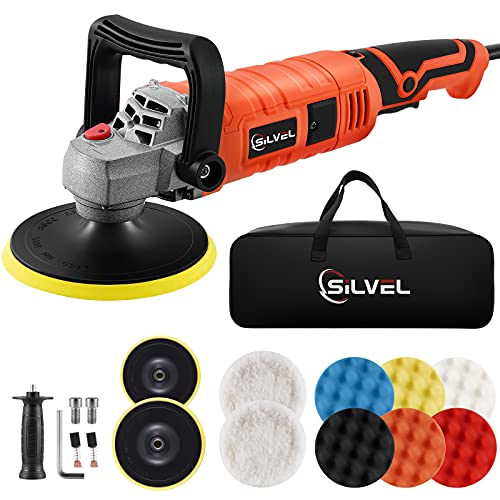 SILVEL Buffer Polisher, 1580W 7-inch/6-inch Rotary Car Polisher, Wax Machine, 7 Variable Speed 3300RPM, with 6 Foam Pads, 2 Wool Pads, Packing Bag, Detachable Handle, for Boat Car Polishing and Waxing