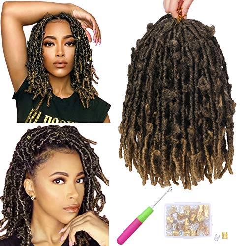 7 Packs Butterfly Faux Locs Crochet Hair 12 Inch Short Bob Distressed Locs Water Wave Faux Locs Ombre Brown Crochet Braids Hair Extension Soft Locs for Women Pre Looped Pre-twisted Braids Hair(1B/27#)