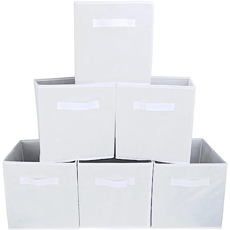 EZOWare Boîtes de Rangement Ouvertes en Textile Non-Tissé, Tiroir en Tissu, Pack de 6, pour Linge, Jouets, Vêtement, Disques DVD etc. - Blanc