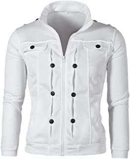 Men's Stand Collar Zipper Solid Color Knitting Long Sleeve Cardigan Jacket Coat