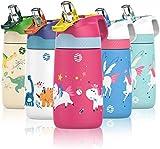 FJbottle Botella de Agua con Pajita Acero Inoxidable 350ml, Aislamiento de Vacío de Doble Pared, Botellas de Frío/Caliente, sin bpa Botella Reutilizable