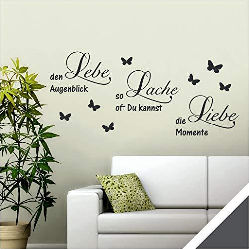 Exklusivpro Wandtattoo Spruch Worte Lebe Lache Liebe mit Schmetterlinge (wrt11 dunkelgrau) 90 x 40 cm mit Farb- u. Größenauswahl