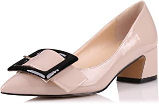 Eldof Pointed Toe Pumps,Classy 2 Inches Block Heel Chic Pumps, Confort Buckle Heel for Office Wedding Dress