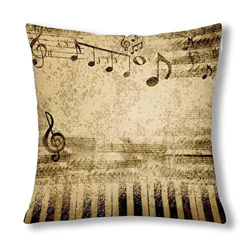 HZLM - Federa decorativa per cuscino con note musicali su fogli di carta antica, 45 x 45 cm, con cerniera quadrata