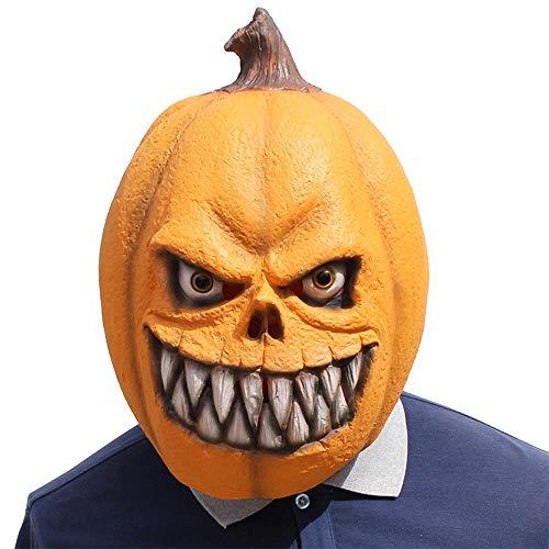 XIAOMAN Máscara principal de calabaza Máscara de látex realista Cosplay de disfraces de Halloween Fiesta de Navidad Juegos de rol Juguetes (Color : Orange, Size : One size)