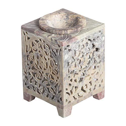 Casa Moro Orientalische Duftlampe Shiva-2 aus Soapstone handgeschnitzt 8x8x11 cm (B/T/H) ätherisches Öl Diffusor, Teelicht-Halter für Aromatherapie, Aromalampe | SL3080