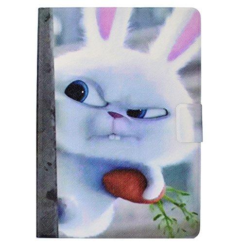 Lspcase Huawei MediaPad T3 10 9.6 Zoll Tasche Schutzhülle PU Leder Flip Ständer Hülle Cover mit Automatik Schlaf/Wach Funktion & Kartenfach für Huawei MediaPad T3 10 9.6 Zoll Etui Snowball Kaninchen