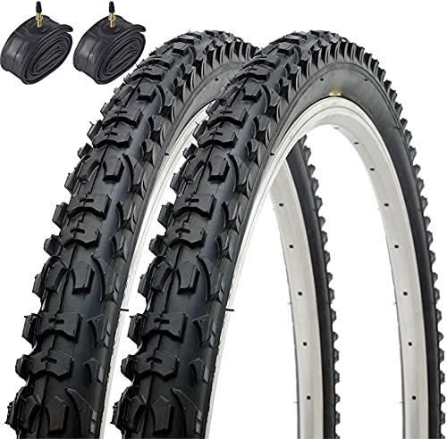 Cylficl Par de neumáticos plegables de bicicleta de montaña híbrida MTB 26 x 1.95 53-559 y tubos interiores