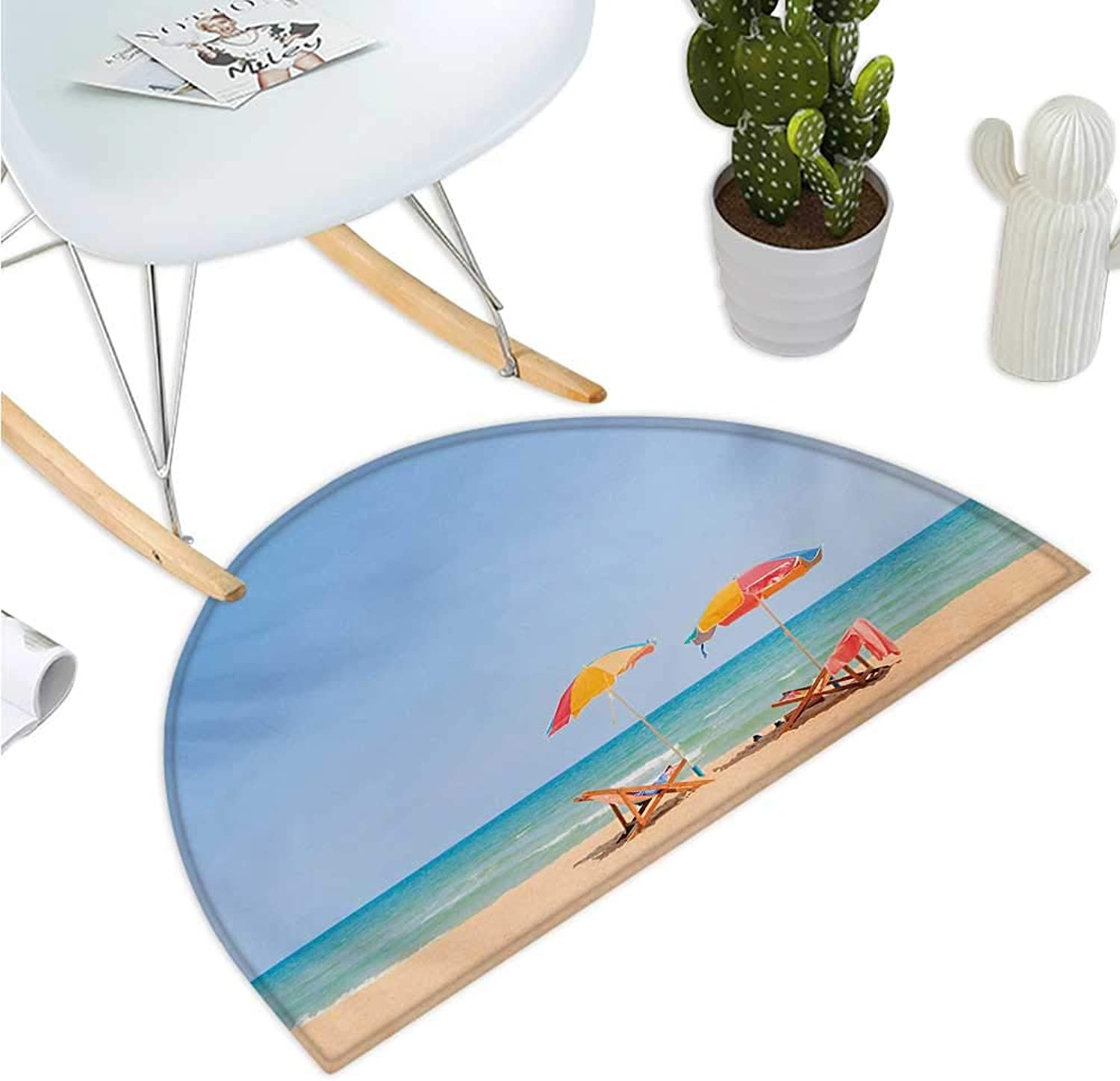 Seaside Semicircle Doormat Beach Chair Umbrella on The Beach Leisure Time Tourist Attractions Photo Print Entry Door Mat H 47.2  xD 70.8  Turquoise Beige