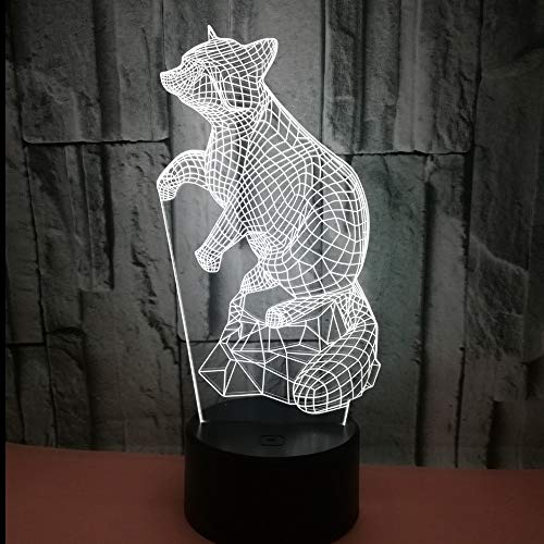Only 1 Piece Exploding Fox 3D Small Night Light Seven Color Creative Touch Remote 3D SmallLamp Colorful Colorful USB Led Light Fixtures
