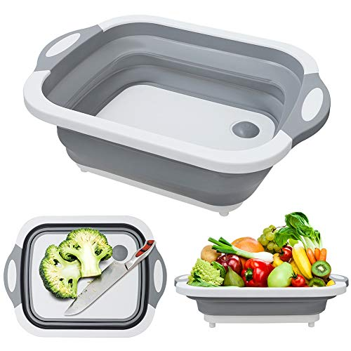 MFTEK Foldable Multifunction Chopping Board Collapsible Dish Tub Basin Cutting Board Colander Vegetable Fruit Wash and Drain Sink Storage Basket Space Saving for Kitchen Home