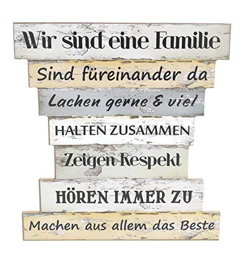 Unbekannt Holzschild Vintage Stil mit Sprüchen, Wir sind eine Familie, Familien Regeln, Family Rules, Leben, Lieben, Lachen, Zuhause, Maße 32 x 30 cm