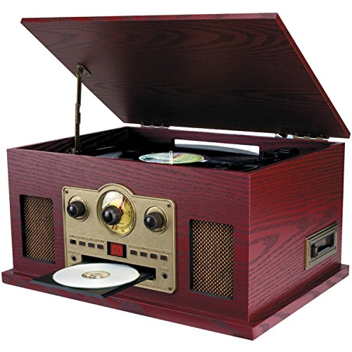 Sylvania SRCD838 5-In-1 Nostalgic Turntable with CD, Casette, Radio, Aux-In,Brown