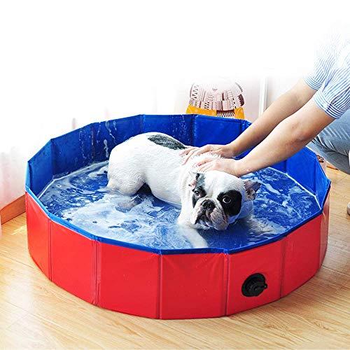 DZL- Piscina Plegable para Perros Gatos Bañera Piscina Portátil para Mascotas Pequeños Medianos Piscina Bañera Resistente Bañera para Mascotas Bebes para Aire Libre (M-20 * 80CM)