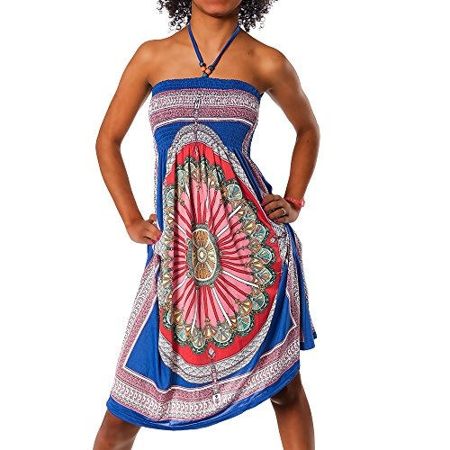Diva-Jeans Damen Sommer Aztec Bandeau Bunt Tuch Kleid Tuchkleid Strandkleid Neckholder H112, Größen:Einheitsgröße, Farben:F-026 Blau