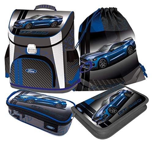 Ford GT Auto Car SCHULRANZEN RANZEN blau Tornister 4 Teile Set Tasche Federmappe mit Sticker von kids4shop