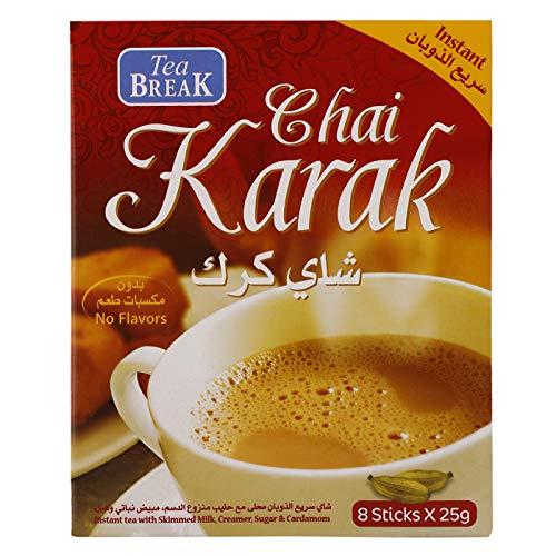 Tè solubile Chai Karak con macchiante, zucchero e cardamomo, 8 bustine da 25 g