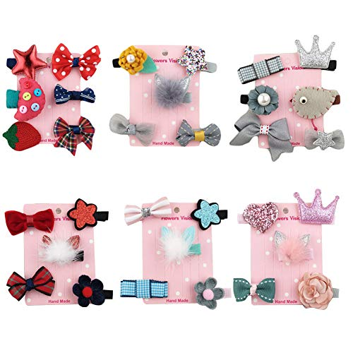 Outtybrave Pack De 32 Piezas Bebe Niña Multicolor Clips Pelo Niña,Flor Arco Lazos para el Pelo para Niñas Bebé Adolescentes
