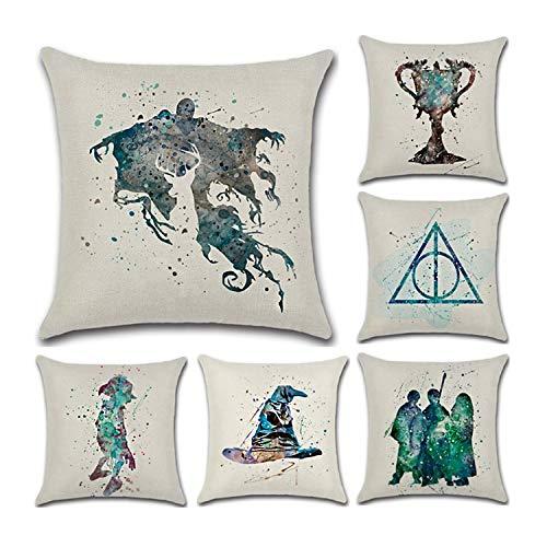 Housse de coussin en lin doux CADITEX, pour sofa, siège de véhicule, décoration de lit (6pcs-Harry Potter)