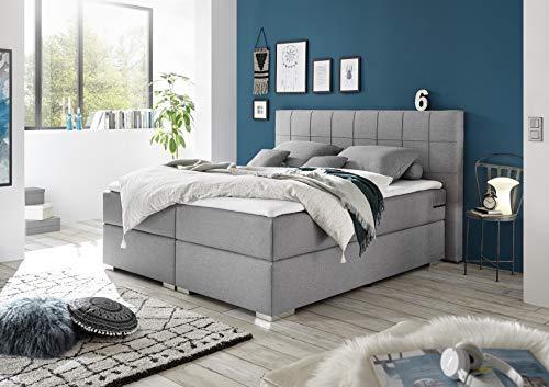 MöbisandMore Boxfjädersäng 180 x 200 cm | Oakland-silver | Hårdhetsgrad upp till 130 kg | 7-zons fjäderkärna Deluxe madrasser | Komfort bäddmadrass 4 cm
