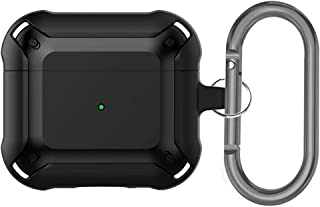 INFOSUN Armor Series Military AirPods 4 Case, Full-Body Hard Shell Protective Cover Case Skin with Keychain for AirPod 4, ...