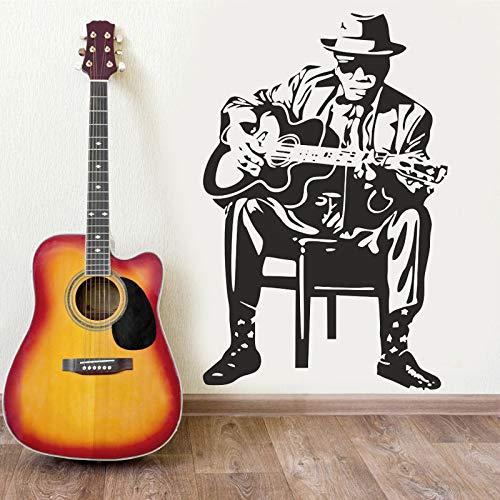 Etiqueta engomada de la pared del hombre de la música de la guitarra Decoración del arte interior Música de la escuela Calcomanía del aula Papel tapiz mural autoadhesivo extraíble A1 42x65cm