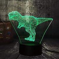 Dtcrzj Rr新しいクールティラノサウルスレックスジュラ紀世界恐竜動物3D LedデスクランプナイトライトUsbホーム子供クリスマスギフト