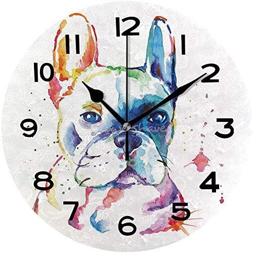 EricauBird Wood Clock Round Wall Clock Watercolor French Bulldog Decorative Wooden Clock Home Decor Wall Clock