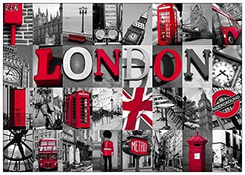 Amymami Lienzo Pintura Panorama Londres autobuses Rojos y cabinas telefónicas Cartel Carteles revestidos decoración del hogar 60x90cm