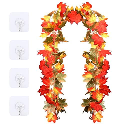 Ghirlande di foglie d'acero artificiali, 2 confezioni autunnali da appendere, decorazione per parete, porta fondale caminetto festa nuziale giorno del ringraziamento Halloween decorazioni natalizie