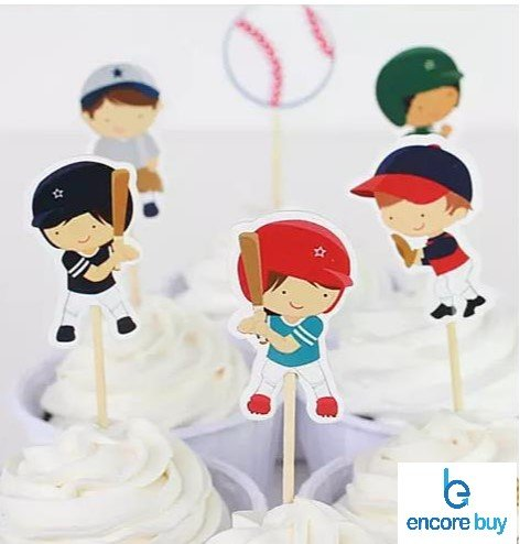 Encore Buy Baseball Sports Cake Cupcake Toppers for Birthday, Baby Shower Decoration 24 PCS