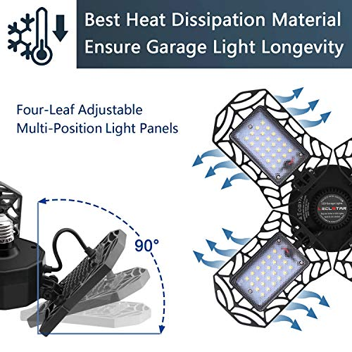 LED Garage Lights 120W - 12000LM Garage Lights Ceiling LED, 6000K Four-Leaf Deformable LED Garage Lighting Fixture with Adjustable Multi-Position Panels, Best for Garage, Workshop 4