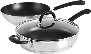 ProCook Gourmet Stainless Steel - Set Wok & Sauteuse - 28cm - Inox 18 10 - Tous Feux Dont Induction - Revêtement Antiadhés...
