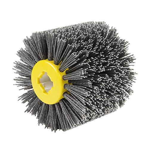 EXLECO Nylonbürste #80 Körnung Drahtziehrad Pinsel Polierbürste für Satiniermaschine Schwarz Schleifbürste Borstenbürste Grit Bürste