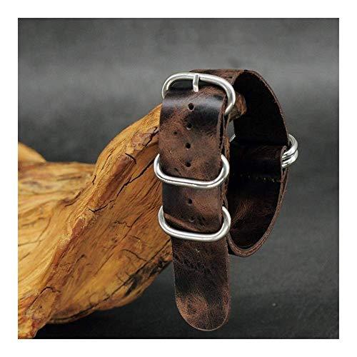 REDCVBN Bracelet de Montre Onthelevel Lederen Strap 20mm 22mm 24mm Zulu Strap Vintage Eerste Laag Koe Lederen Horloge Band Met Vijf Ringen Gesp Bracelet (Taille : 18mm)