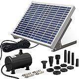 Ankway Solar Fuente Bomba,10W Fuente de Jardín Solar Kit con Panel Solar Bomba de Agua Solar para Estanque Pequeño, Baño para Pájaros, Decoración de Jardines