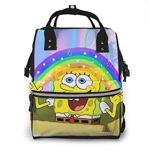JUKIL Sac à dos à couches Spongebob Hug Friend Mummy Backpack Zipper Travel Daypack Men Women Teens Gift