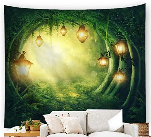 JUNDY Tapiz de ensueño para Pared psicodélico Mandala Bohemia Decoración Dormitorio o Sala de Estar Paño Decorativo Verde árbol Agujero 3 100x75cm