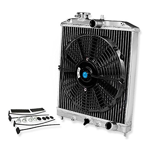 Replacement for Civic/Del Sol/Integra (Manual Transmission) 2-Row 42mm Racing Radiator+12 inches Black Fan