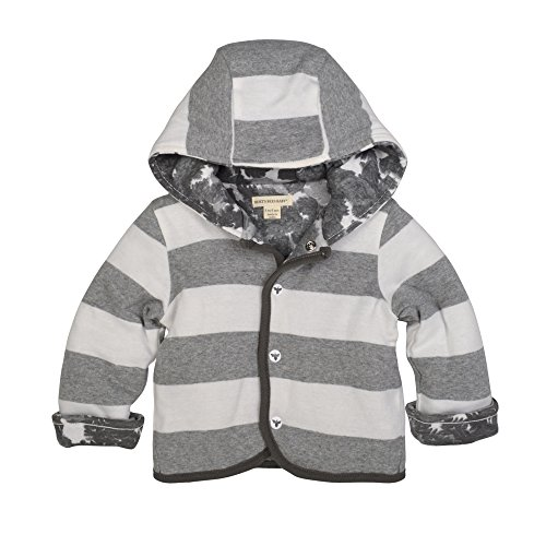 Burt's Bees Baby Unisex Baby Jacket, Hooded Coat, 100% Organic Cotton, Heather Grey Canopy Reversible, 3-6 Months